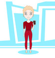 young blonde woman showing cell smart phone vector image