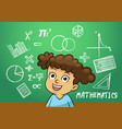 school girl write math sign object in school vector image