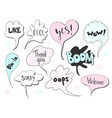 set of cute speech bubble with text in doodle vector image