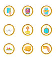 world shipping icons set cartoon style vector image