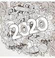 2020 hand drawn doodles contour line vector image vector image