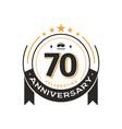 70 th birthday vintage logo template anniversary vector image vector image