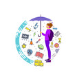 a girl with backpack behind her umbrella vector image vector image