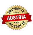 austria 3d gold badge with red ribbon vector image vector image