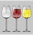big reds wine empty glass of red and white wine vector image vector image