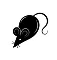 black silhouette a rat or mouse on a white vector image vector image