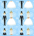 bride and groom seamless pattern vector image
