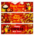 chinese lunar new year greeting banners vector image vector image