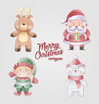christmas characters decoration collection set vector image vector image