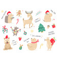 christmas holiday set with hand drawn animals vector image