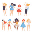 collection of women of different figure type and vector image