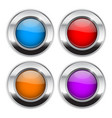 colored round buttons glass 3d shiny icons vector image vector image