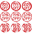 discount percentage off grunge labels vector image vector image