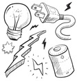 doodle power electricity lightbulb battery bolt vector image vector image