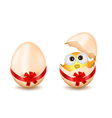 easter egg with checken vector image vector image