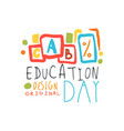 education day label original design back to vector image