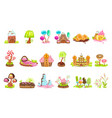fairy-tale landscape elements made sweets and vector image vector image