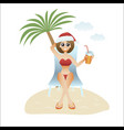 festive christmas banner woman on beach sitting vector image