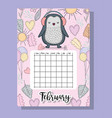 feubrary calendar information with penguin and vector image vector image