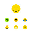 flat icon face set of grin joy cold sweat and vector image vector image