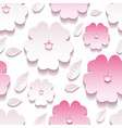 Floral background seamless pattern pink 3d sakura vector image vector image