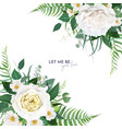 floral watercolor wedding invite card frame vector image vector image
