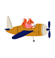 fox pilot flying on retro plane in sky cute vector image vector image