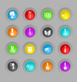 gardening colored plastic round buttons icon set vector image