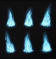 gas realistic blue fire flames and light blazes vector image vector image