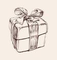 gift box hand drawn birthday vector image vector image
