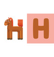 h is for horse letter h horse cute vector image vector image