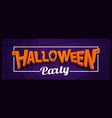 halloween party horizontal banner with lettering vector image vector image