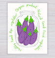 hand drawn poster with jar full of eggplant with vector image vector image