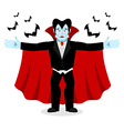 Happy Dracula in red mantle Good cheerful vampire vector image