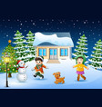 happy kids playing in front of the snowing house o vector image vector image