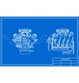 Hot rod V8 Engine drawing vector image
