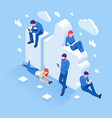isometric thumbs up like social network concept vector image