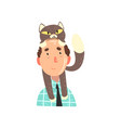 man and his grey cat adorable pet on the head of vector image vector image