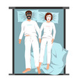 man and woman in face masks lying back on bed vector image vector image
