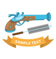 musket and ramrod on military theme vector image vector image