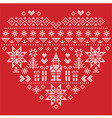 Nordic pattern in hearts shape with Santa on red vector image vector image