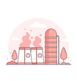 nuclear power plant - thin line design style vector image vector image