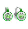 open sign on green label - welcome back set of vector image