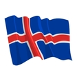 political waving flag of iceland vector image
