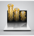 realistic notebook with money coins vector image vector image