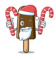 santa with candy chocolate ice cream mascot vector image