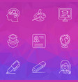 school icons line style set with eraser female vector image vector image