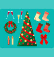 set of christmas images on blue background vector image