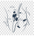 silhouette a climber linear style vector image vector image