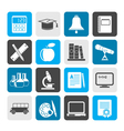 Silhouette Education and school objects icons vector image vector image